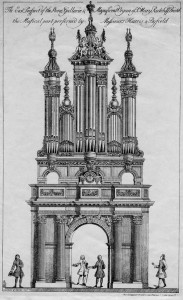 Engraving of the 1725 Harris and Byfield organ in St Mary Redcliffe, Bristol