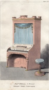 Engraving of an upright piano c1815.