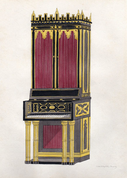 Engraving of an upright grand piano c.1808 for the Prince of Wales